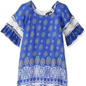 My Michelle Girls Crochet Bell Sleeve Shift Dress